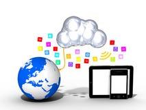 Beräknande - minnestavlan - smartphone för moln - massmediasymboler Arkivfoton
