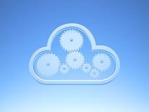 Beräknande symbol för metalliskt moln på blå himmel Royaltyfri Foto