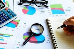 Beräknar Graph den finansiella redovisningen för skrivbordkontorsaffär, analy royaltyfri fotografi