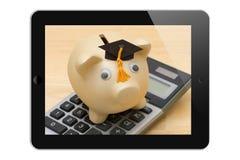 Beräkning av kostnaden av utbildning på internet royaltyfri foto