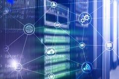 Beräkning och kommunikation för teknologiinfrastrukturmoln för färgbegrepp för bakgrund blåa internet vektor illustrationer