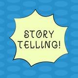 Berätta för berättelse för ordhandstiltext Affärsidéen för berättar eller skriver korta berättelser delar personliga erfarenheter stock illustrationer