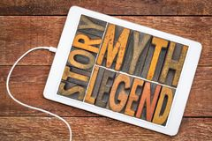 Berättelse myt, legend - ord i wood typ för tappning royaltyfria foton