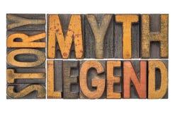 Berättelse myt, legend - ord i wood typ för tappning royaltyfri fotografi
