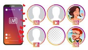 Berättelsevektor Flicka manbanderoll Live Video Streaming Online-strömmande video Socialt medelbegrepp applejacken royaltyfri illustrationer