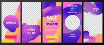 Berättelsevektormall för Instagram det sociala nätverket Moderiktig design för reklamblad för modeförsäljning och för specialt er vektor illustrationer