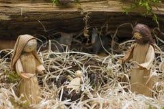 Berçário do Natal com Joseph Mary e Jesus Fotografia de Stock Royalty Free