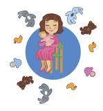 Berços da boneca da menina e outros brinquedos Imagem de Stock Royalty Free