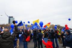 Beröm av 60 år av europeisk union i Bucharest, Rumänien Arkivbilder