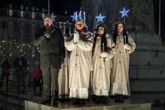 Beröm av dagen för St Lucys i Malmo, Sverige royaltyfri foto