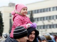 Beröm av den internationella dagen av solidaritet i Donetsk på Arkivbild
