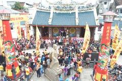 Beröm av det kinesiska nya året i den Semarang staden Royaltyfria Bilder