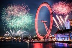 beröm av det nya året i London, UK Arkivbilder