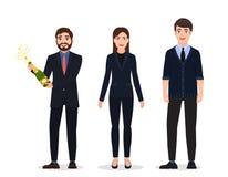 Beröm av en viktig händelse, tre lyckliga personer, tecken i affärsdräkter och julhattar royaltyfri illustrationer