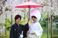 Beröm av ett typisk bröllop i Japan Arkivfoton