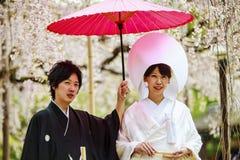 Beröm av ett typisk bröllop i Japan Fotografering för Bildbyråer