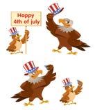 Beröm av fjärdedelen av Juli En amerikansk örn Arkivfoton