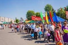 Beröm av Victory Day. GOMEL VITRYSSLAND - MAJ 9: Beröm Royaltyfri Foto