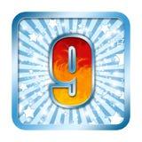 beröm för 9 alfabet nio nummer Arkivfoto