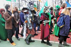 Beröm för dag för St Patrick ` s i Moskva Arkivfoton