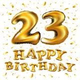 Beröm för den lyckliga födelsedagen för vektorn sväller 23rd med guld, och guld- konfetti blänker design för illustration 3d för  Royaltyfri Fotografi
