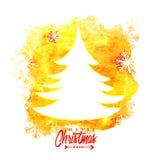 Beröm för glad jul med Xmas-trädet Arkivfoto