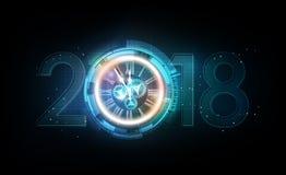 Beröm 2018 för lyckligt nytt år med abstrakt begreppklockan för vitt ljus på futuristisk teknologibakgrund, vektorillustration Fotografering för Bildbyråer