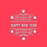 Beröm för lyckligt nytt år med blom- design Royaltyfri Foto
