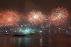 Beröm för nytt år i Hong Kong 2018 arkivfoto