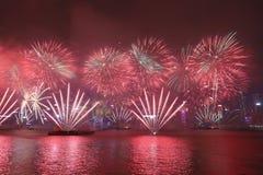 Beröm för nytt år i Hong Kong 2018 Arkivbilder