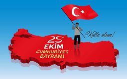 Beröm för Oktober 29th turkisk republikdag över en 3D Turkiet M royaltyfri bild