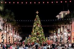 BERÖM FLORIDA, USA - DECEMBER, 2018: Jul med härliga ljus och snö royaltyfria foton