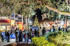 BERÖM FLORIDA, USA - DECEMBER, 2018: Jul med härliga ljus och snö arkivfoton