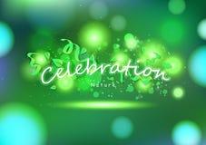Beröm, grön natur, partiabstrakt begreppbakgrund, garnering med sidor och band, vektor för ferie för festival för hälsningkort royaltyfri illustrationer