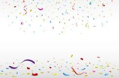 Beröm med det färgrika bandet och konfettier royaltyfri illustrationer