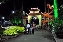 Beröm Tet kinesisk mån- för nytt år i Ho Chi Minh, Vietnam Royaltyfri Bild