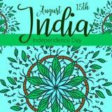Berömbakgrund för indisk självständighetsdagen med text 15 Augusti, färgrika fläckar och stället för din text Arkivbild