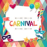 Berömbakgrund med karnevalklistermärkear och Arkivbilder