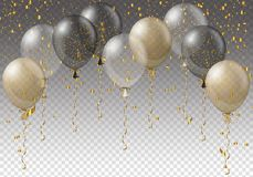 Berömbakgrundsmall med ballonger, konfettier och band på genomskinlig bakgrund också vektor för coreldrawillustration stock illustrationer