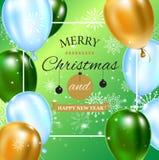 Berömbakgrundsmall med ballonger, konfettier och snöflingor på grön bakgrund med planlagd text eller vektor illustrationer