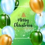 Berömbakgrundsmall med ballonger, konfettier och snöflingor på grön bakgrund med planlagd text eller royaltyfri illustrationer