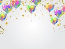 Berömbakgrundsmall med konfettibandillustrati vektor illustrationer