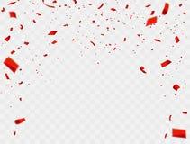 Berömbakgrundsmall med konfettier och röda band lyxigt hälsningrichkort stock illustrationer