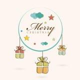 Berömbegrepp för glad jul med stilfull text och hangin Royaltyfri Foto