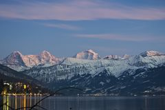 Berömd bergskedja Eiger, Moench och Jungfrau fotografering för bildbyråer