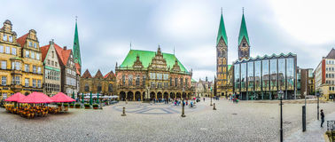 Berömd Bremen marknadsfyrkant i den Hanseatic staden Bremen, Tyskland royaltyfria foton