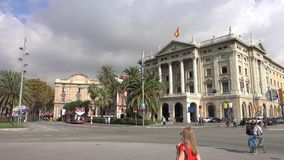 Berömd byggnad i Barcelona kallade Gobierno Militar de Barcelona stock video
