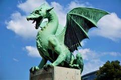 Berömd drake från den Ljubljana drakebron Royaltyfri Bild