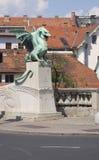 Berömd drakebro (Zmajski mest), symbol av Ljubljana Fotografering för Bildbyråer