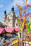 berömd easter marknad, gammal stadfyrkant, Prague, Tjeckien Arkivfoton